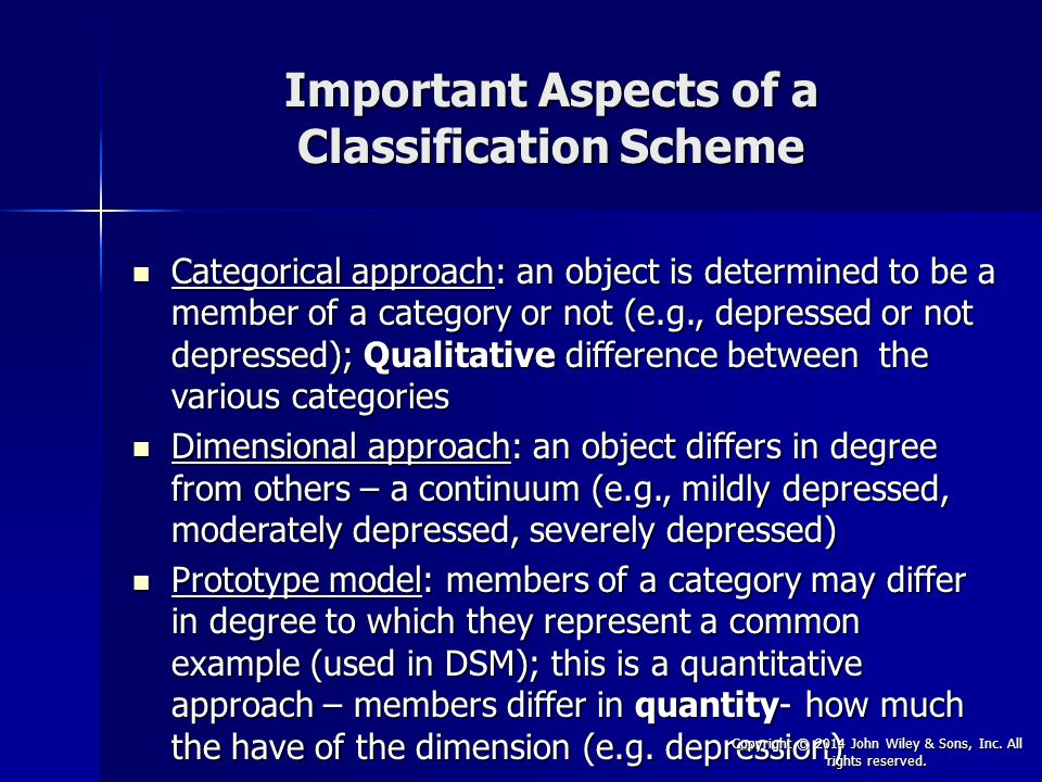 Important Aspects of a Classification Scheme
