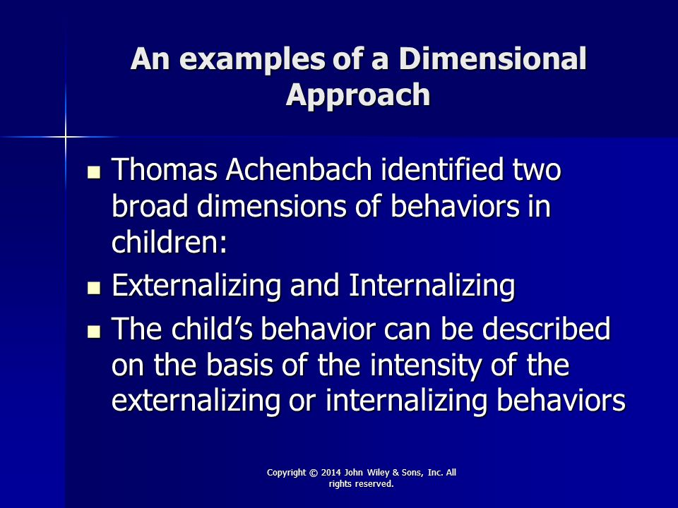 An examples of a Dimensional Approach