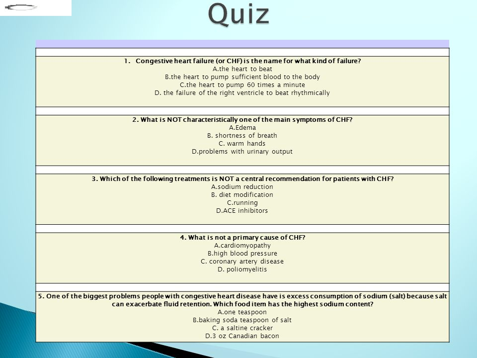 Quiz Congestive Heart Failure Or Chf Is The Name For What Kind Of