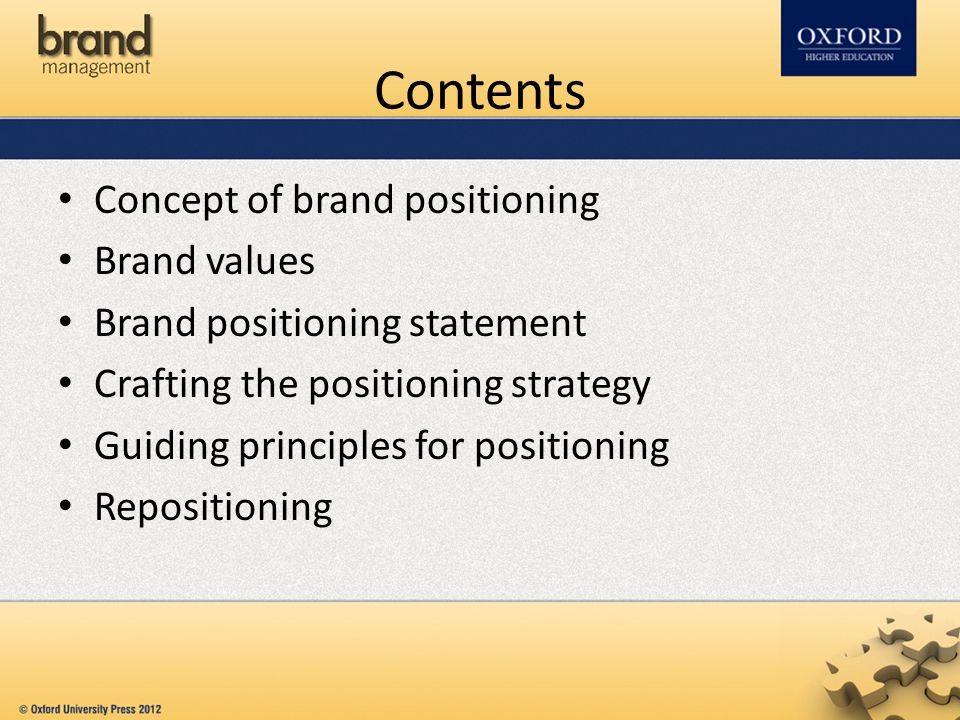 Contents Concept of brand positioning Brand values