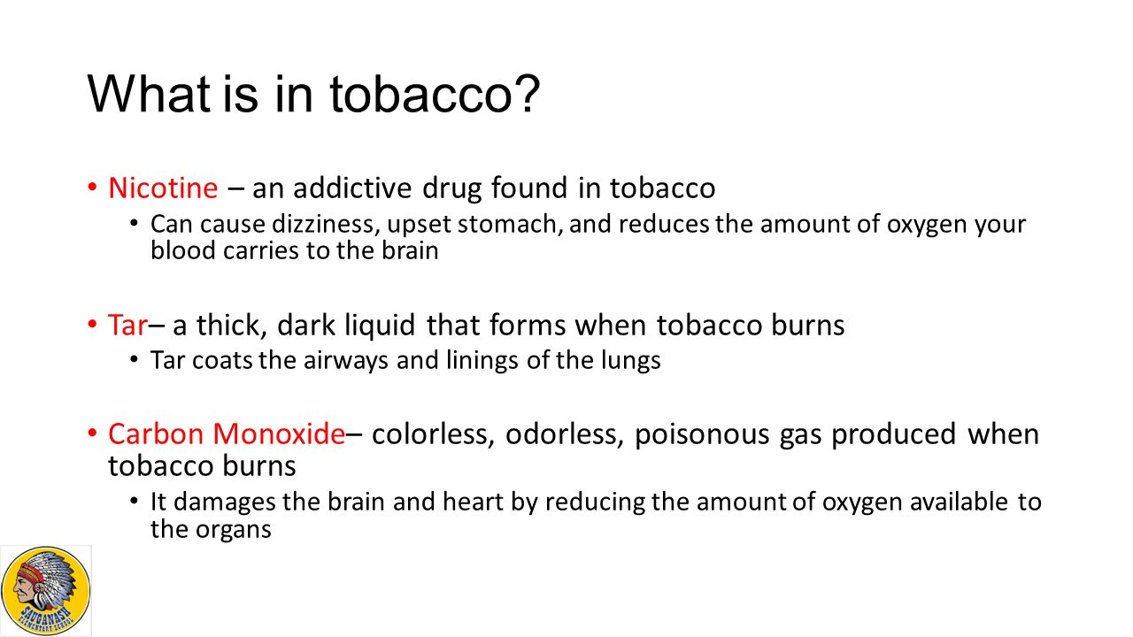 What is in tobacco Nicotine – an addictive drug found in tobacco