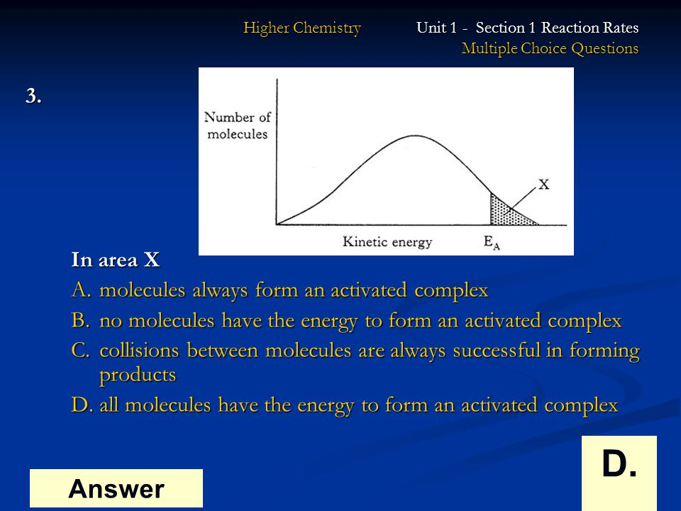 Higher Chemistry Unit 1 Section 1 Reaction Rates Multiple Choice