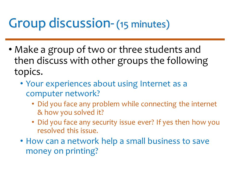 group discussion on internet
