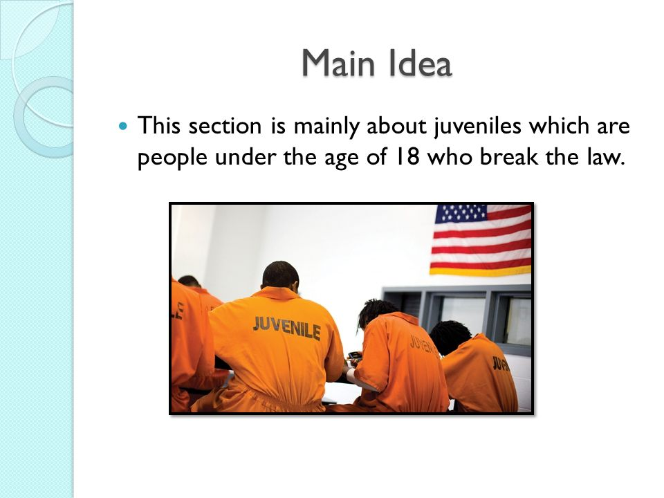 Main Idea This section is mainly about juveniles which are people under the age of 18 who break the law.