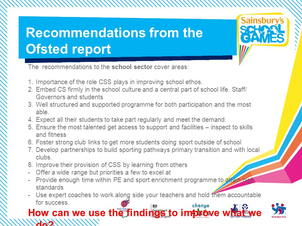 Recommendations from the Ofsted report
