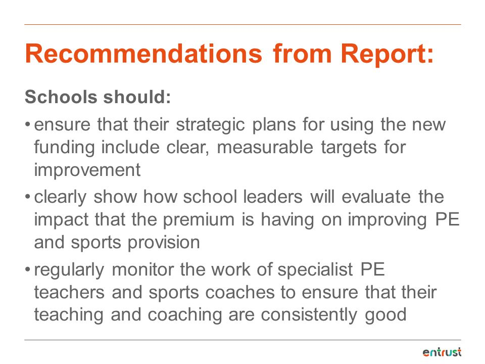 Recommendations from Report: