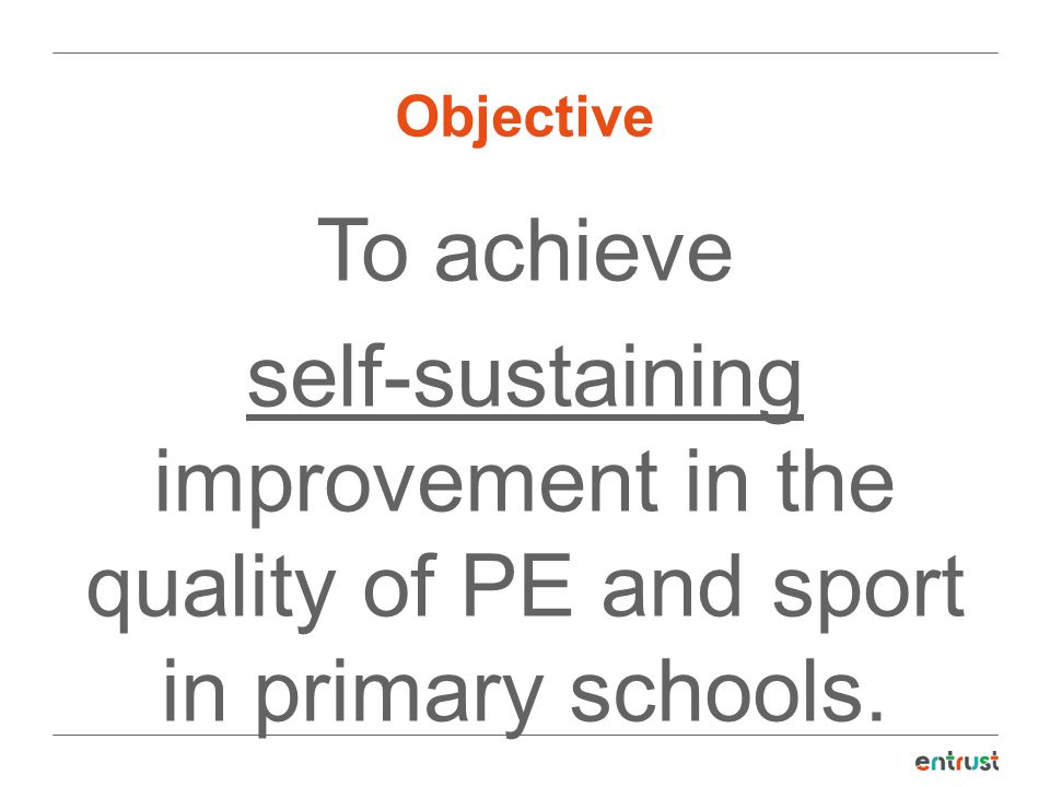 Objective To achieve self-sustaining improvement in the quality of PE and sport in primary schools.