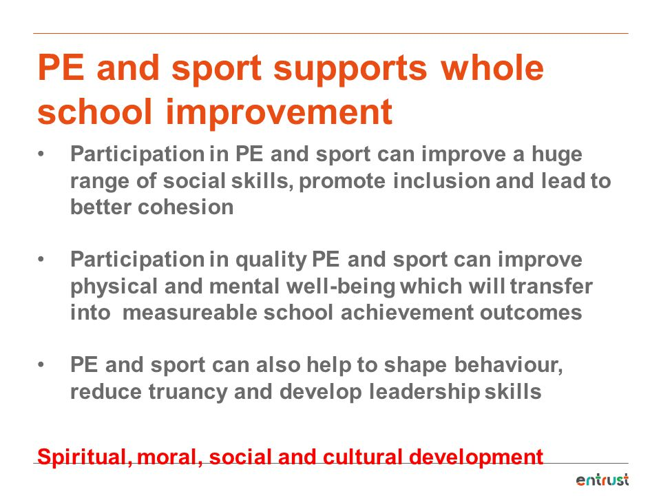 PE and sport supports whole school improvement