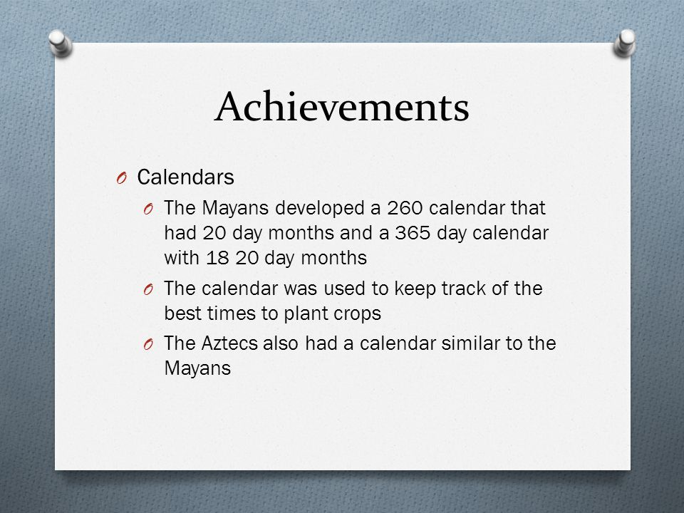 Achievements Calendars
