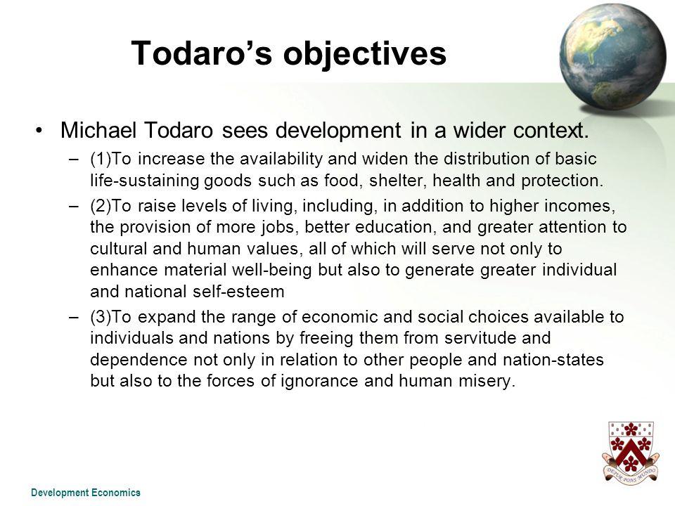 definition of economic development by michael todaro