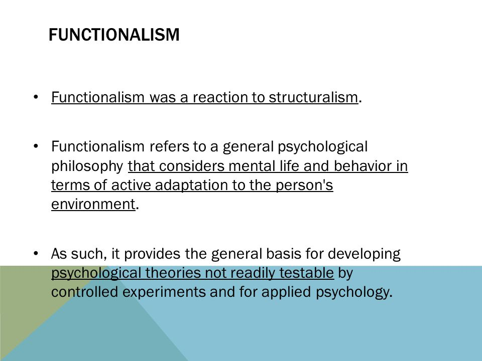 an introduction to functionalism and strcturalism Functionalism example a functionalist theory might characterize pain as a state that tends to be caused by bodily injury, to produce the belief that something is wrong with the body and the desire to be out of that state, to produce anxiety, and, in the absence of any stronger, conflicting desires, to cause wincing or moaning.