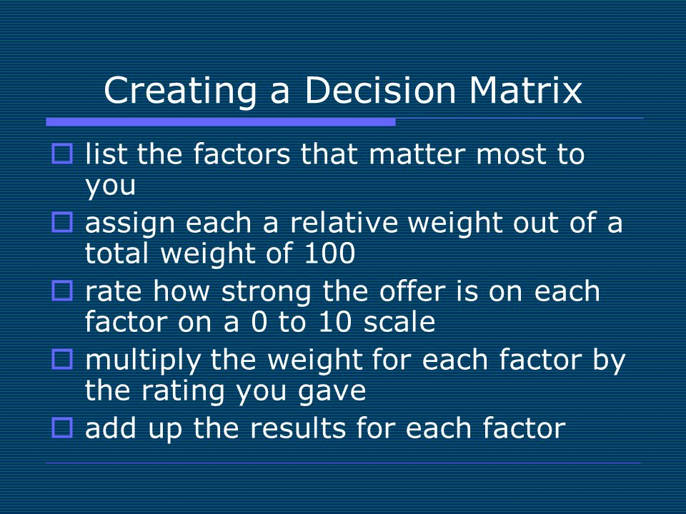 Image result for Creating a decision matrix