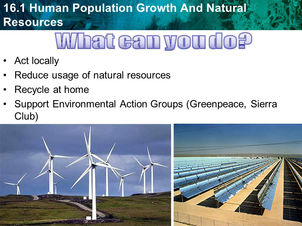 What can you do Act locally Reduce usage of natural resources