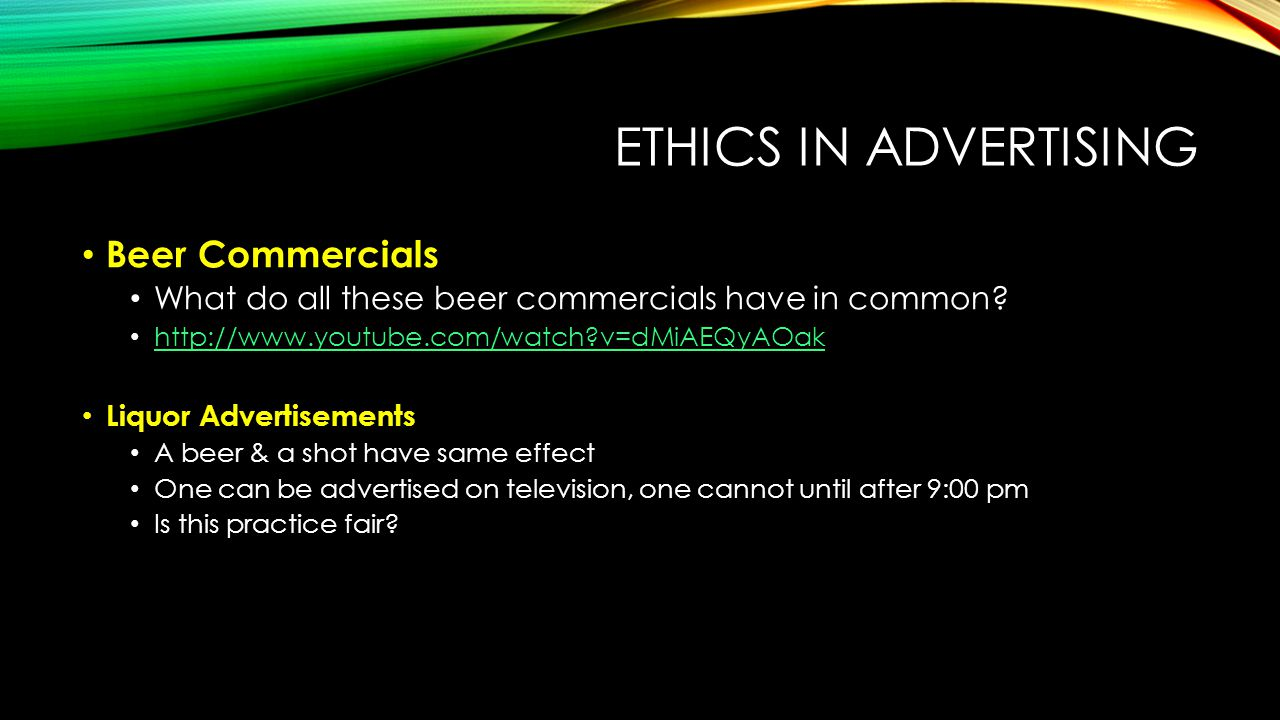 advertising ethics alcohol and tobacco Ethics in alcohol advertising marketing and ethics introduction marketing is a commercial right in many countries it gives information to consumers about brands and choices, and also helps businesses with the selling of their products.