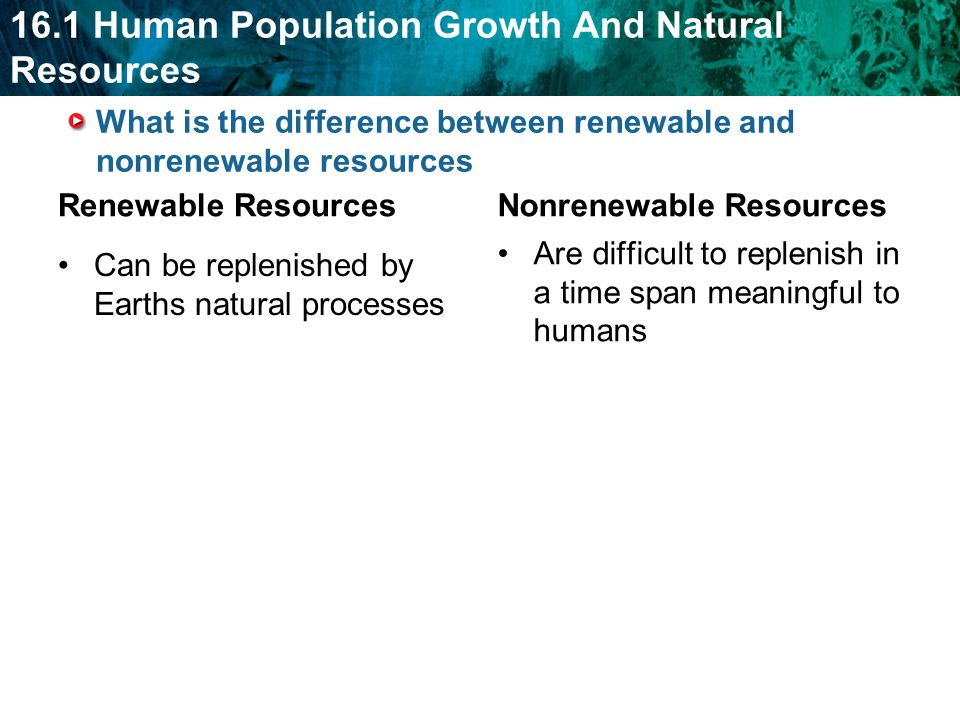 What is the difference between renewable and nonrenewable resources