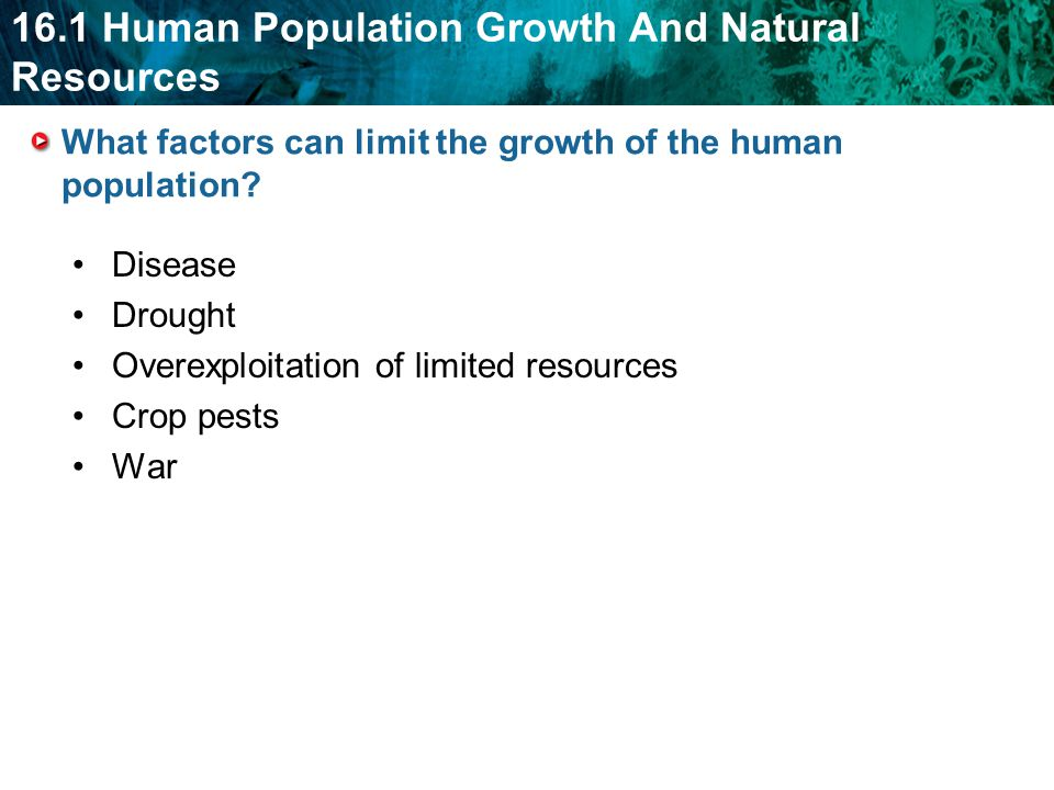 What factors can limit the growth of the human population