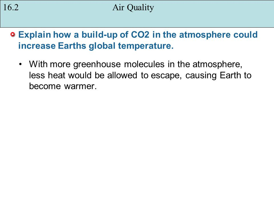 16.2 Air Quality Explain how a build-up of CO2 in the atmosphere could increase Earths global temperature.