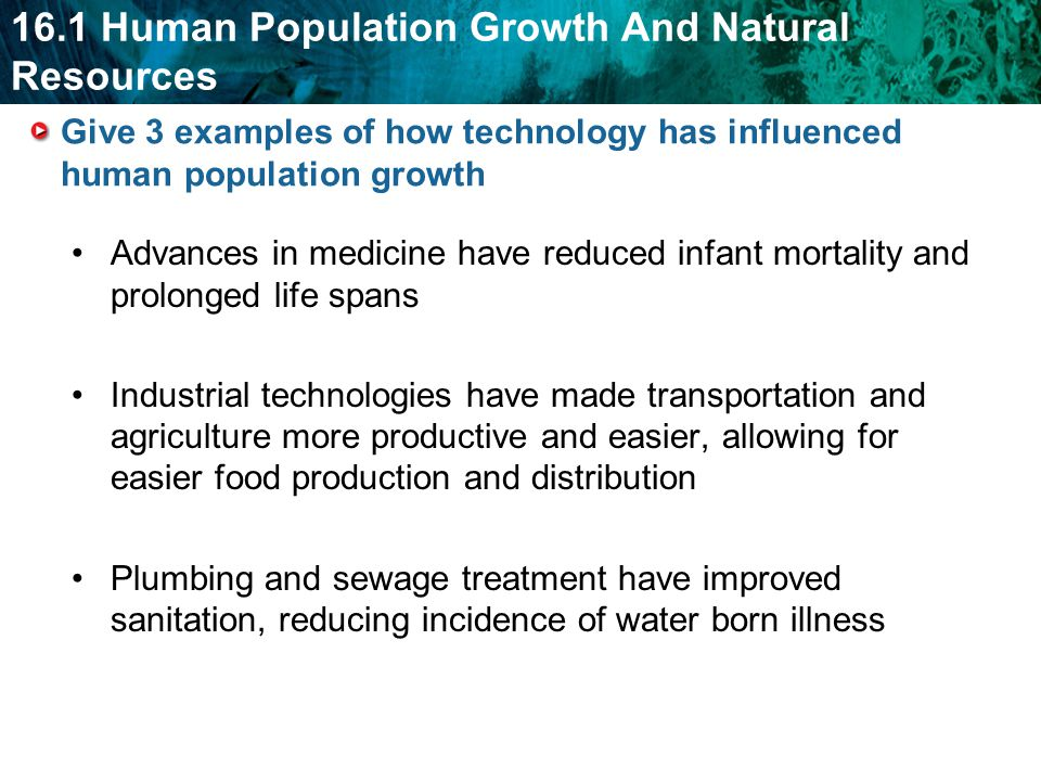 Give 3 examples of how technology has influenced human population growth
