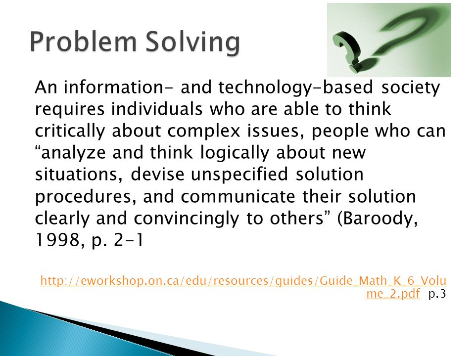 Problem Solving An information- and technology-based society