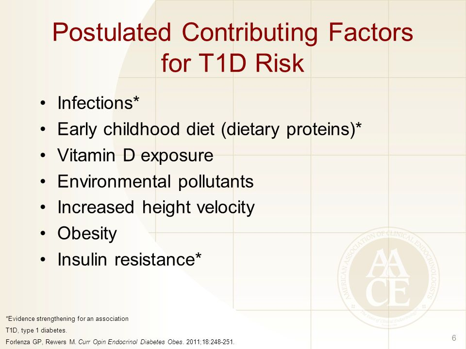 Postulated Contributing Factors for T1D Risk