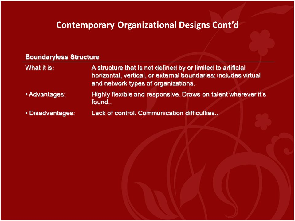 Contemporary Organizational Designs Cont'd