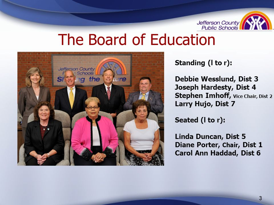 The Board of Education Standing (l to r): Debbie Wesslund, Dist 3