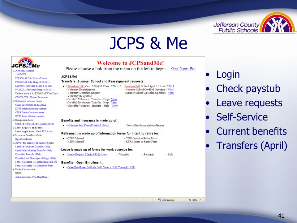 JCPS & Me Login Check paystub Leave requests Self-Service