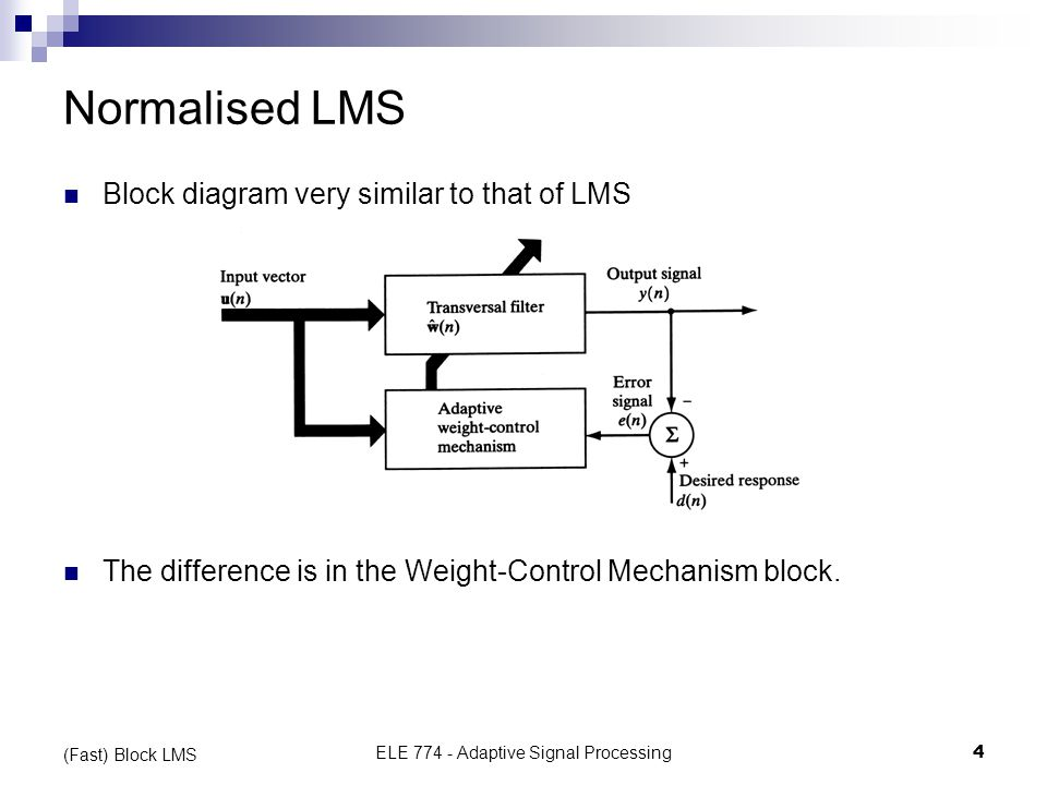 Normalised Least Mean-Square Adaptive Filtering - ppt download