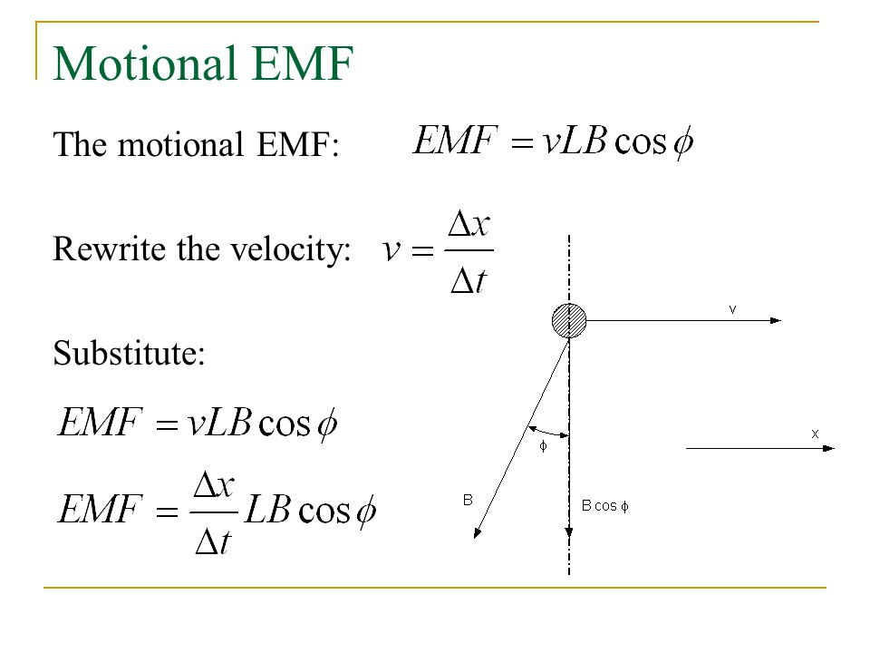 Motional EMF The motional EMF: Rewrite the velocity: Substitute: