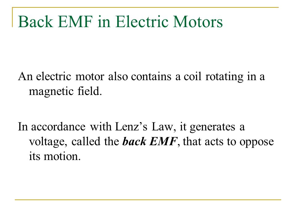 Back EMF in Electric Motors