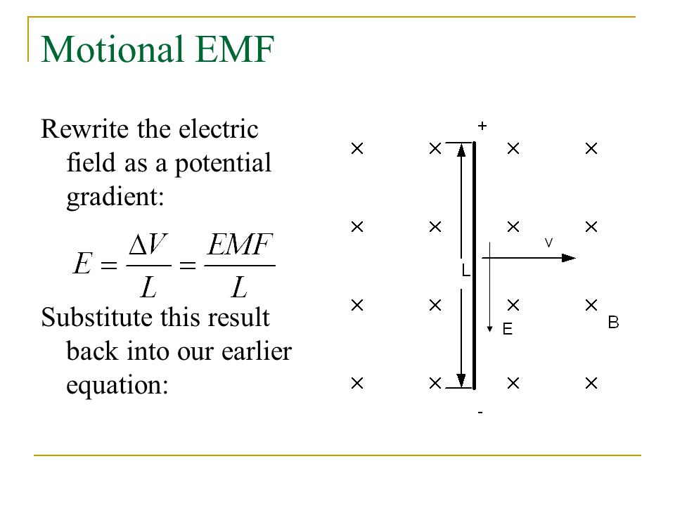 Motional EMF Rewrite the electric field as a potential gradient: