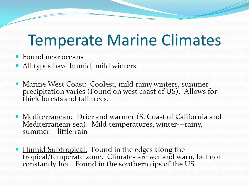 Temperate Marine Climates