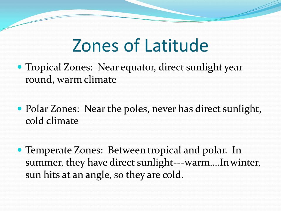 Zones of Latitude Tropical Zones: Near equator, direct sunlight year round, warm climate.