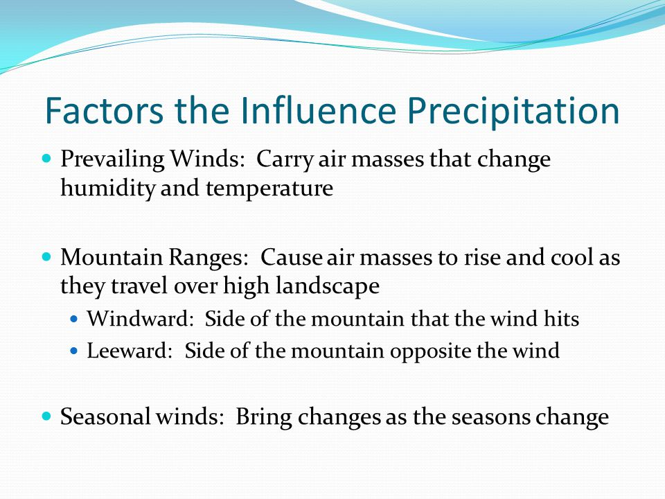 Factors the Influence Precipitation