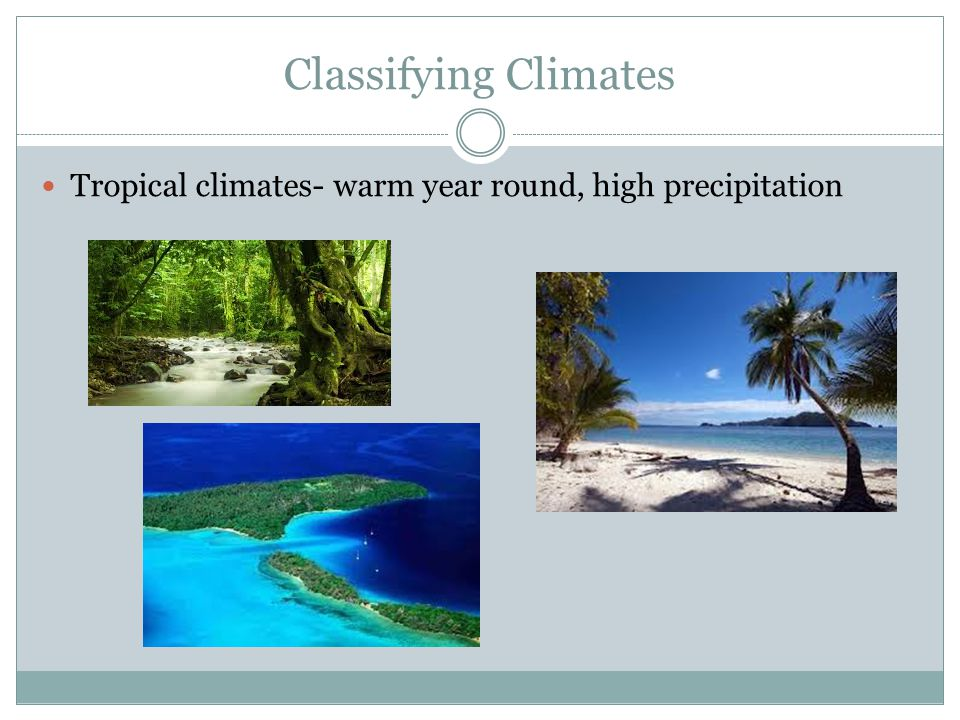 Classifying Climates Tropical climates- warm year round, high precipitation