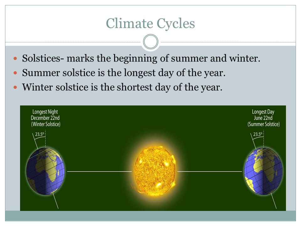 Climate Cycles Solstices- marks the beginning of summer and winter.
