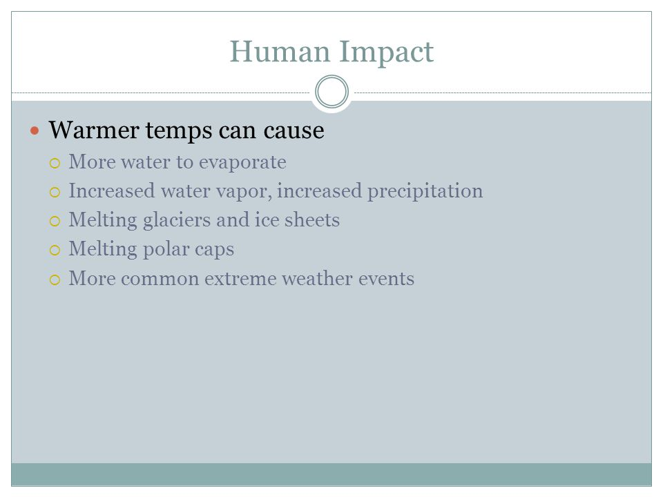 Human Impact Warmer temps can cause More water to evaporate