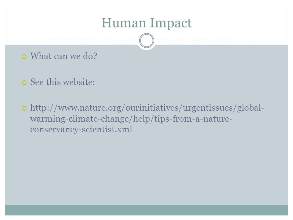 Human Impact What can we do See this website: