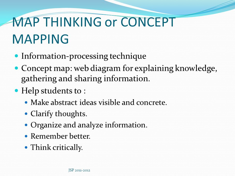 MAP THINKING or CONCEPT MAPPING