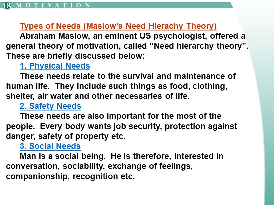 Types of Needs (Maslow's Need Hierachy Theory)