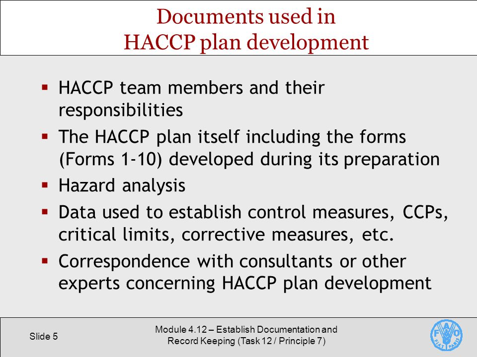 establish documentation and record keeping task 12 principle 7