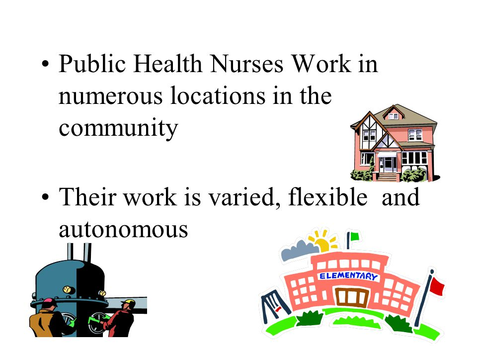 Public Health Nurses Work in numerous locations in the community