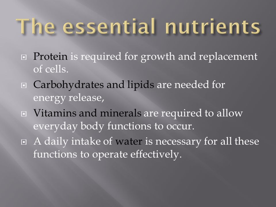 The Essential Nutrients