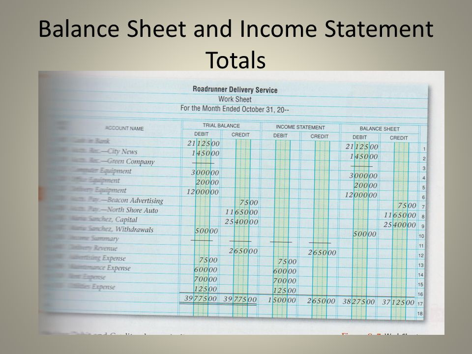 Balance Sheet and Income Statement Totals