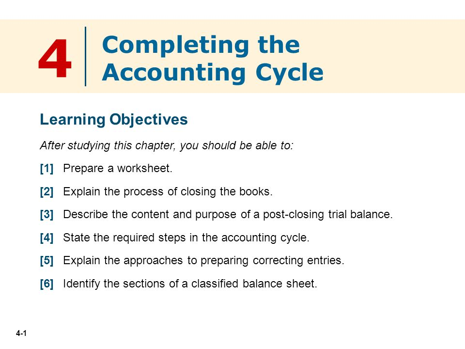 4 Pleting The Accounting Cycle Learning Objectives Ppt Download. 4 Pleting The Accounting Cycle Learning Objectives. Worksheet. Worksheet Accounting Purpose At Mspartners.co