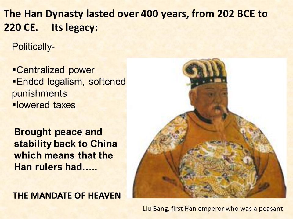 The Han Dynasty lasted over 400 years, from 202 BCE to 220 CE