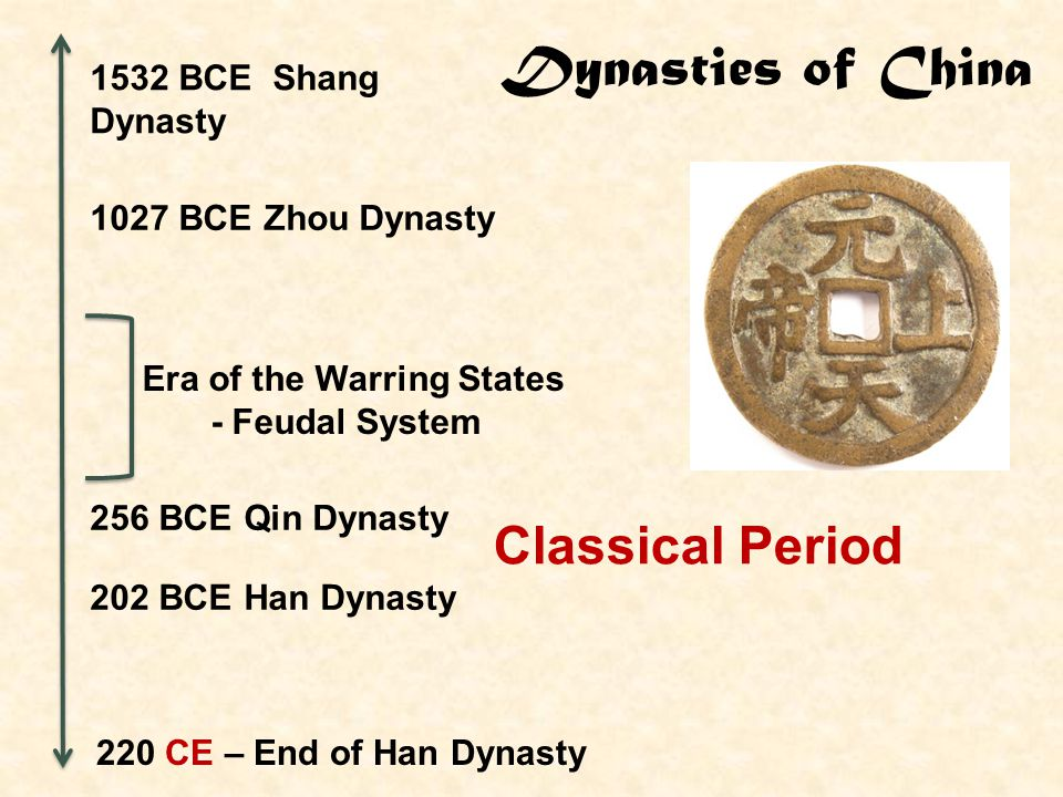 Dynasties of China Classical Period 1532 BCE Shang Dynasty