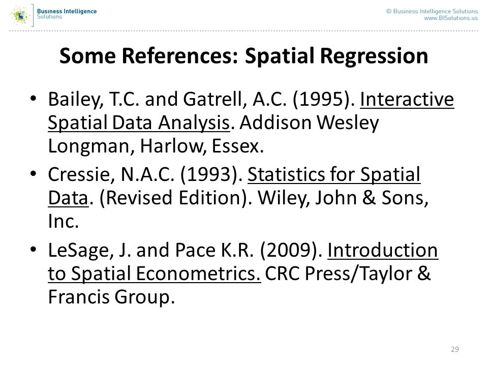 Some References: Spatial Regression