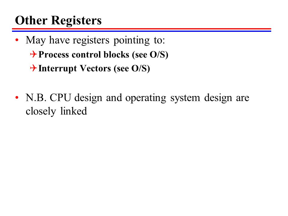 Other Registers May have registers pointing to: