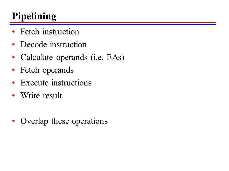 Pipelining Fetch instruction Decode instruction